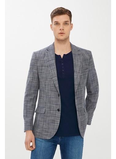 Kiğılı Regular Fit Desenli Ceket Lacivert